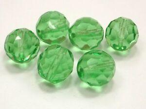10-Boehmische-Glasschliffperlen-12mm-Gruen-Peridot-Perlen-Glasperlen-Rund-Y154