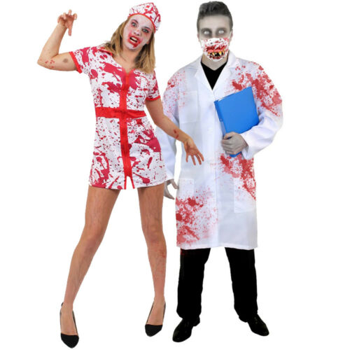 Gli adulti costumi di Halloween COPPIE zombie DOTTORE Sanguinoso Infermiere Costume Horror