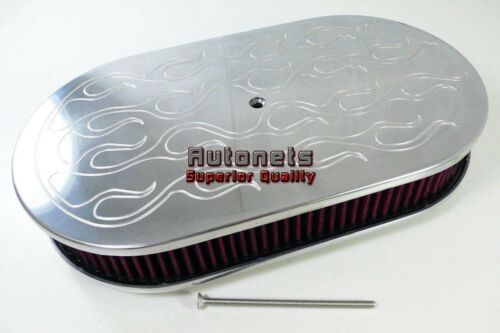 Washable 15 Oval Polish Flame Aluminum Air Cleaner Filter Breather Chevy Ford