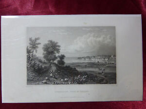 Antique-engraving-of-BEMBRIDGE-from-ST-HELENS-ISLE-OF-WIGHT-c1830-Art-print