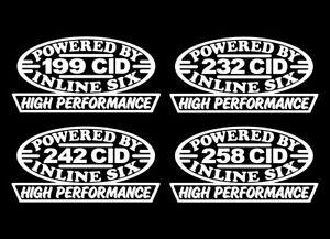 2 HP INLINE SIX ENGINE DECALS 199-232-242-258 AMC 4.0 4.2 STRAIGHT 6 IH STICKERS