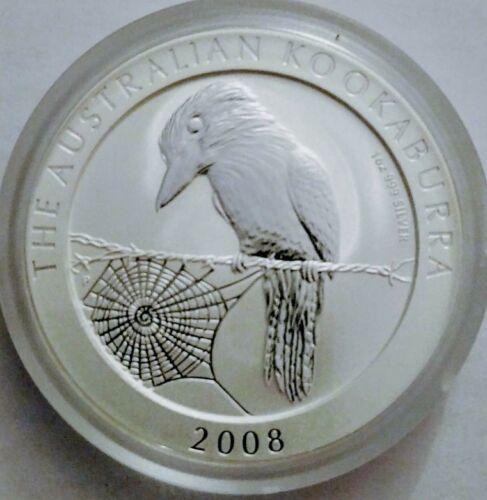 round 2008 Australian Kookaburra PM capsule 1 oz BU-ST Silver with