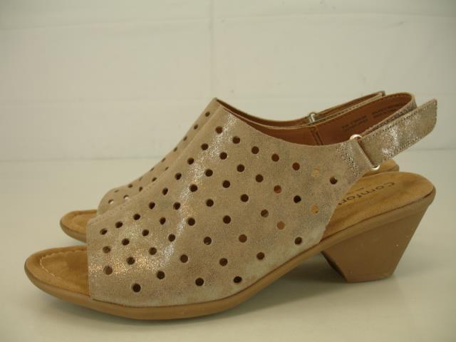 donna 9.5 M Comfortiva Fern Foil Suede Suede Suede Slingback Sandals Anthracite Block Heels d9bc19