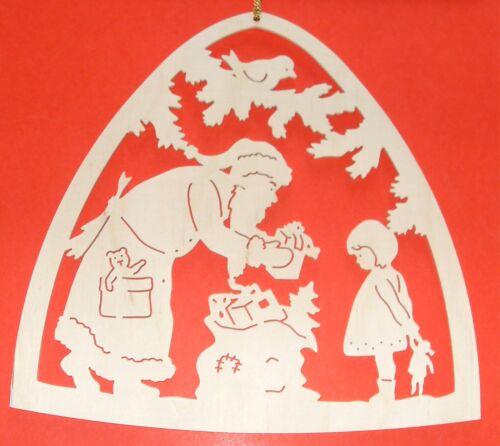 Holz Fensterbild WEIHNACHTSMANN /& KIND BEI DER BESCHERUNG natur Erzgebirge