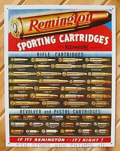 Remington Sporting Cartridges ammo chart TIN SIGN metal ...