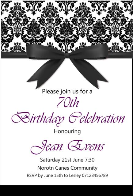 personal birthday invitations, , 18th, 21st, 30th, 40th, 50th, 60th, 70th, 80th