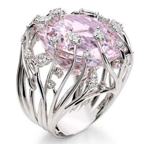 Women Pink Sapphire Silver Ring Wedding Engagement Bridal Jewelry Gifts Sz6-10