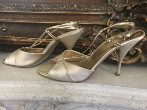 Prada Raso Liberty Gold Sling Back Leather/Satin H