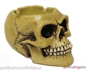 Smoking Skull Resin Ashtray Trinket Tray