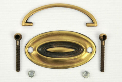 """Solid Brass Plate Handle//Cabinet//Drawer//Knob//Armac//Oval//2 3//4/""""//*PICK QUANTITY*"""
