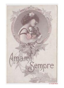 1917-Amada-Mensaje-D-039-Amor-Marco-Con-Hiedra-Tarjeta-Postal-Antigua