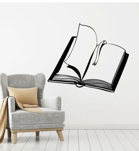 Details about  /Vinyl Wall Decal Open Book Diary Literature Reading Store Stickers Mural g1039