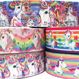 Grosgrain-Ribbon-1-5-034-5-Yard-mixed-lot-Unicorns-Unicorn-LT1-Printed-WHOLESALE