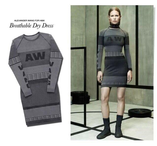 Alexander Wang H&M Logo Sexy Jacquard Knit Body-con Long Sleeve Dress Sz S