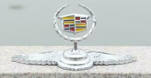 Chrom-Metall-Auto-Front-Hood-Ornament-Aufkleber-Emblem-Fit-fuer-Cadillac