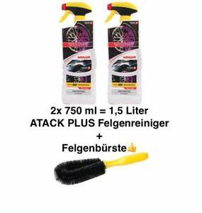 2x-Flasche-ATACK-PLUS-Felgenreiniger-Reinigung-750ml-1-5-Liter-Felgenbuerste