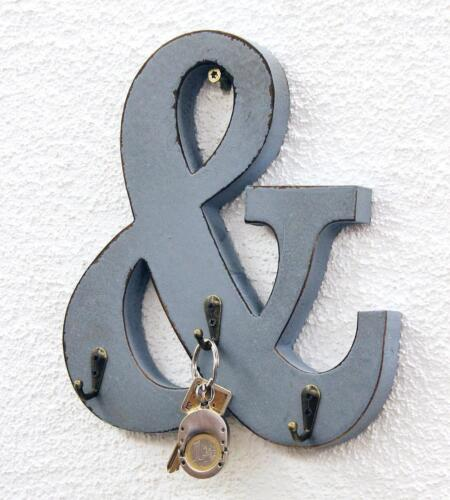 """Buchstabe /""""und/"""" 3 Schlüsselhaken Garderobe 14B394 Vintage Shabby Hakenleiste"""
