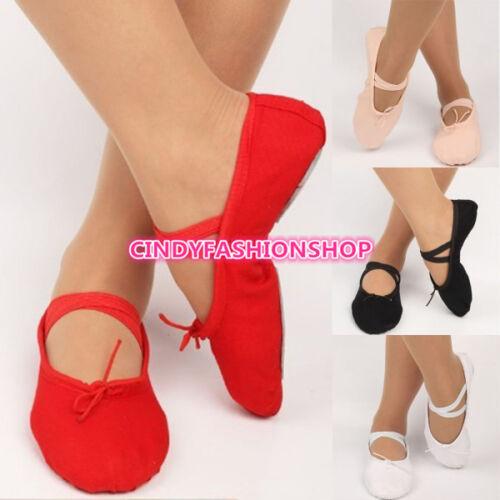Kids Adult Canvas Ballet Dance Shoes Slippers Pointe Dance Gymnastics 22-40 Siz