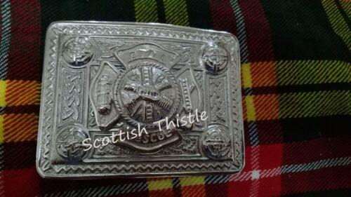 ST Fire Rescue Kilt Belt Buckle Chrome Finish Highland Buckles Celtic 4 Demo