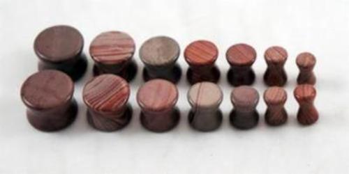 Organic Mud Line Stone Gemstone Double Flared Ear Plugs Natural Polished Pair