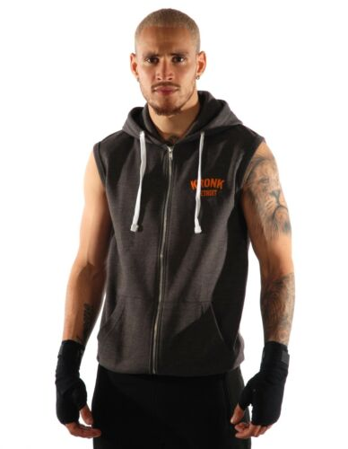 Kronk Men/'s Sleeveless Gym Detroit Zip Hoodie Charcoal Orange