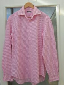 Mens-Shirt-Limeys-size-16-5-034-42-white-pink-check-double-button-cuff