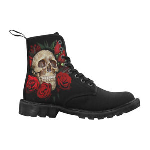 SKULL-and-ROSES-Canvas-Women-Boots-8-Hole-Lace-Up-Black-Combat-Punk-Goth-Boots