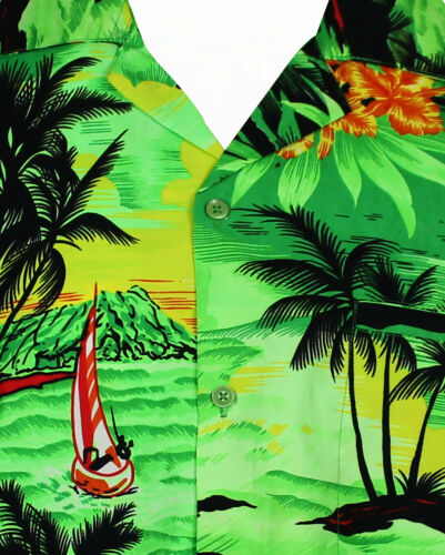 Funky Chemise Hawaïenne Surf Vert Différentes Tailles