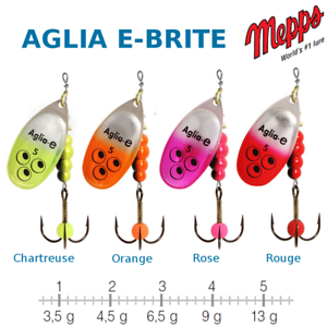 Mepps aglia e-brite uv sensitive e attractor all colors and sizes new