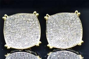Mens-Ladies-10K-Yellow-Gold-Round-Cut-Diamond-Circle-Studs-Earrings-1-10-Ct