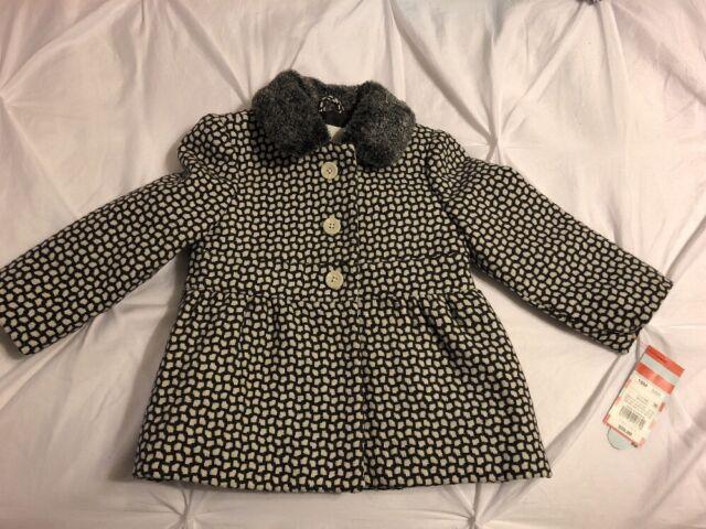 6bb533f6 NWT Cat & Jack Toddler Baby Girl's Gray White Jacket Coat Faux Fur Collar  18M