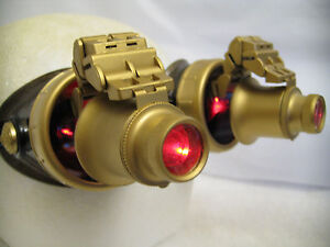 Pro Steampunk Goggles Cosplay SCI-FI Gamer Costume Top Hat LED Red lenses 20X
