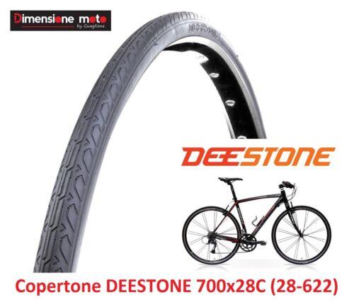 """1 Copertone DEESTONE 700x28C D-1002 Scanalato Nero per Bici 28/"""" Corsa Strada"""