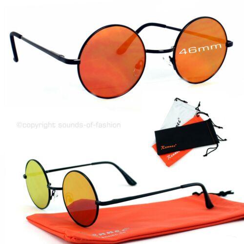 Nickelbrille Sonnenbrille Rund Flachglas Schwarz Rot Verspiegelt 5cm Rennec VP