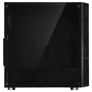 ATX Mid Tower Computer Gaming PC Case Dual Ring Blue LED Fans Tempered Glass
