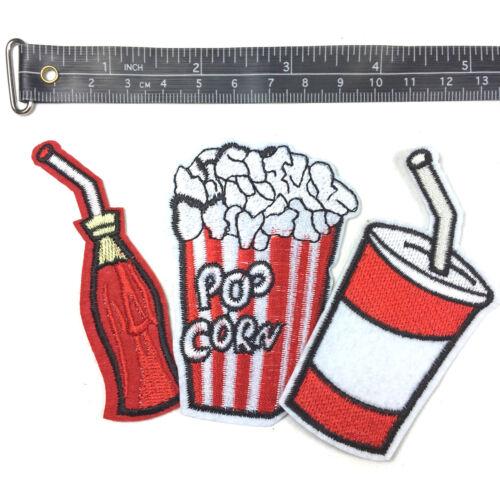 Aufnäher PATCH Aufbügler Abzeichen Bügelbild Aufnäherbild Patches Kino Popcorn