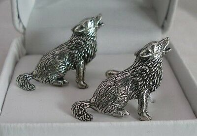 Wolf Cufflinks in Fine English Pewter, Gift Boxed
