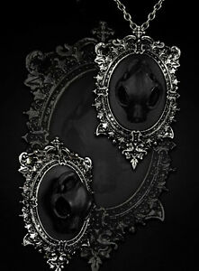 Restyle-Halskette-Brosche-SET-Katze-Gothic-Halloween-Cat-Skull-Necklace