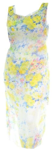 Ladies New Chiffon Georgette Triple Layer Pencil Dress Yellow Blues White Cruise