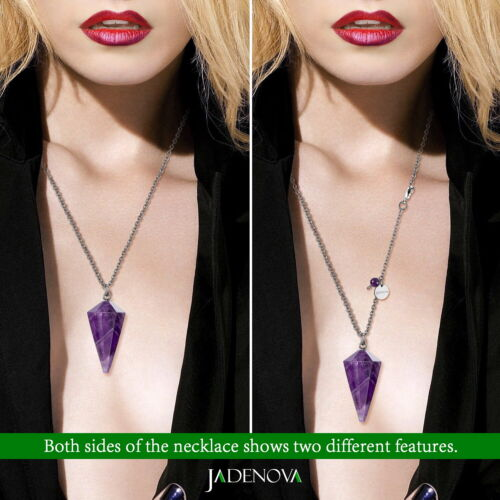 Natural Conical Gem Pendant Necklace Energy Healing Crystal Pendulum Necklace