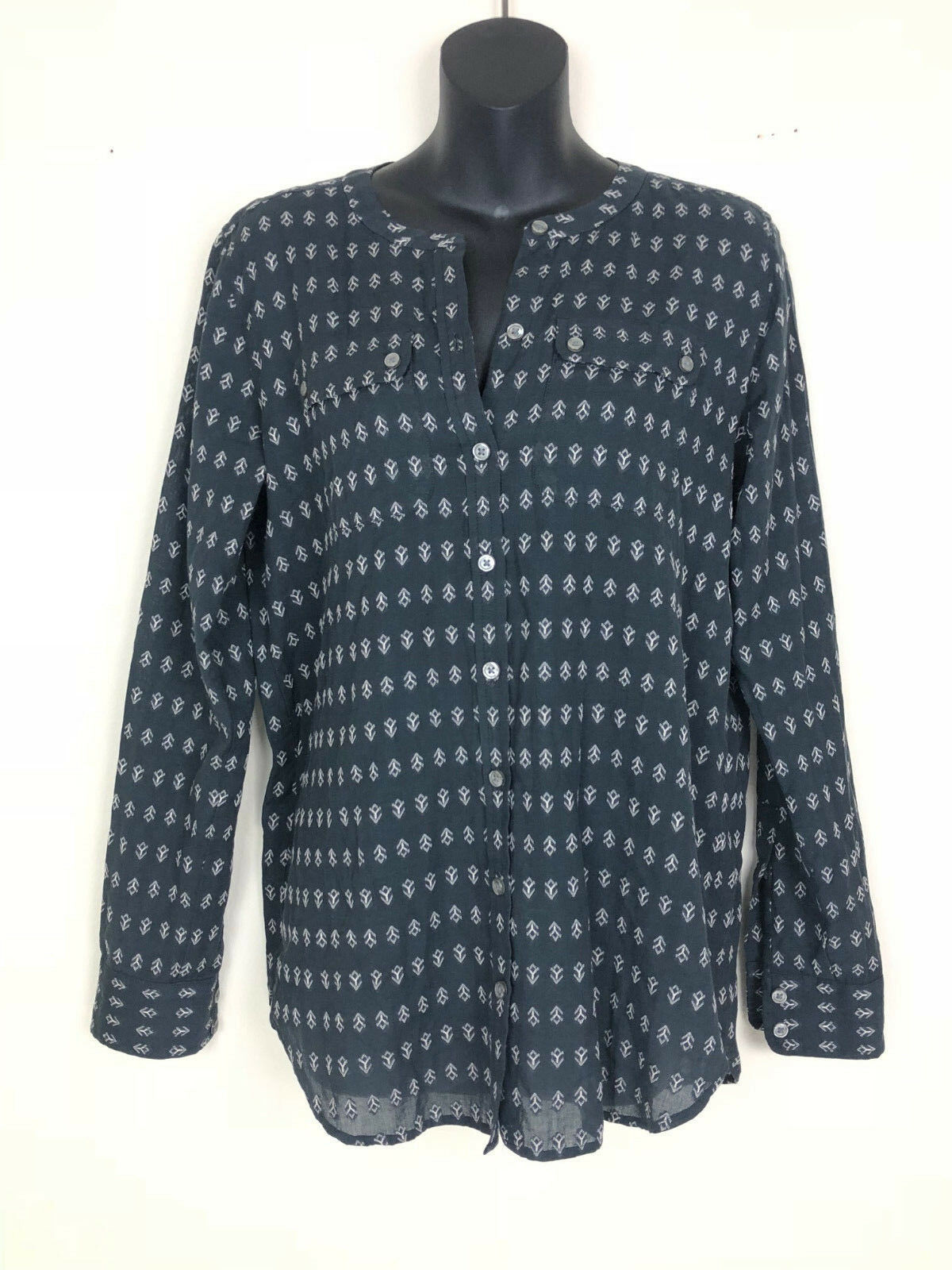 Ann Taylor Loft Shirt XS Navy bluee Long Sleeve Button Down - Free Gift