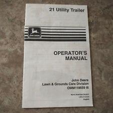 John Deere 21 Utility Trailer Operators Manual Omm118659