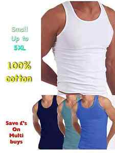 MENS-VESTS-100-Cotton-TANK-TOP-SUMMER-TRAINING-GYM-TOPS-WHITE-MIX-BLUE-3-6-12