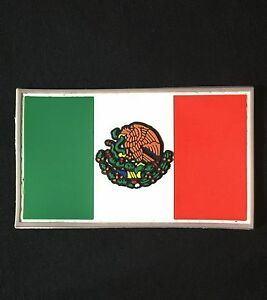 PVC-MEXICAN-COUNTRY-FLAG-MEXICO-ARMY-COLOR-BADGE-PATCH-W-VELCRO-BRAND-FASTENER