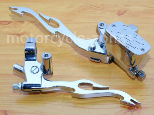 "Motorcycle Chrome 7//8/"" Handlebar Flame Hand Control Reservoir Brake Clutch Lever"