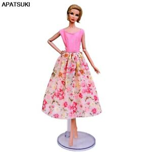Pink-Floral-Countryside-Fashion-Doll-Dress-For-Barbie-Doll-Clothes-1-6-Outfits