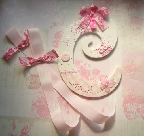 """8/"""" Wooden Letter Bow//Hairclip Hanger-any design Chic personalised"""