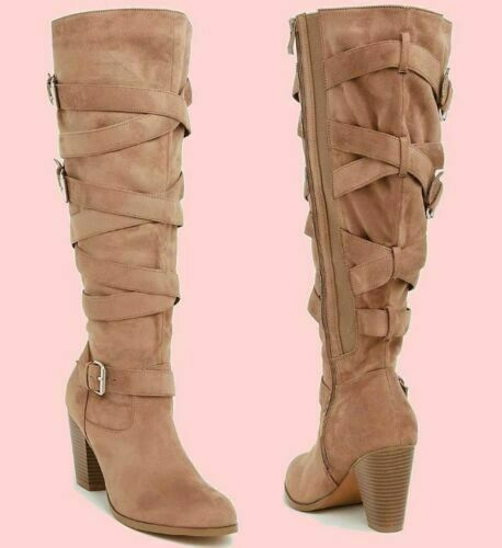 TORRID Women's Tan Strappy High Heel Boots WIDE WIDTH   9.5 Brand New Ships Free