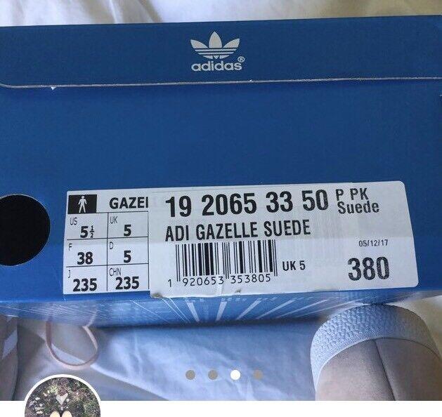 Adidas Gazelle Gazelle Adidas Blush rose blanc  Suede Trainers bb7373
