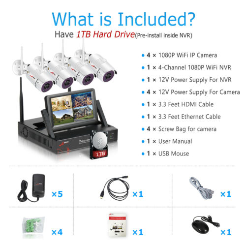 """1080P Wireless Security CCTV Camera System 8CH 15/""""LCD NVR HDMI Outdoor 2TB HDD"""